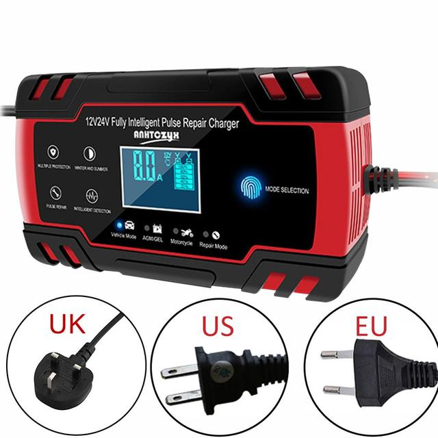 12V 8Amp/24V 4Amp Automotive Smart Battery Charger/Maintainer with LCD Display For Truck,Motorcycle,Lawn Mower,Boat,RV,SUV, ATV