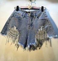 blue denim shorts women summer new heavy rhinestones tassel diamond high waist ripped denim shorts female sexy jeans hot pants