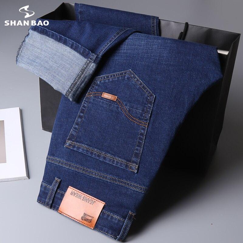 جينز مستقيم ضيق ماركة شان باو 2021 مناسب للخريف نمط كلاسيكي لرجال الأعمال غير رسمي جينز من قماش الدنيم قابل للتمدد