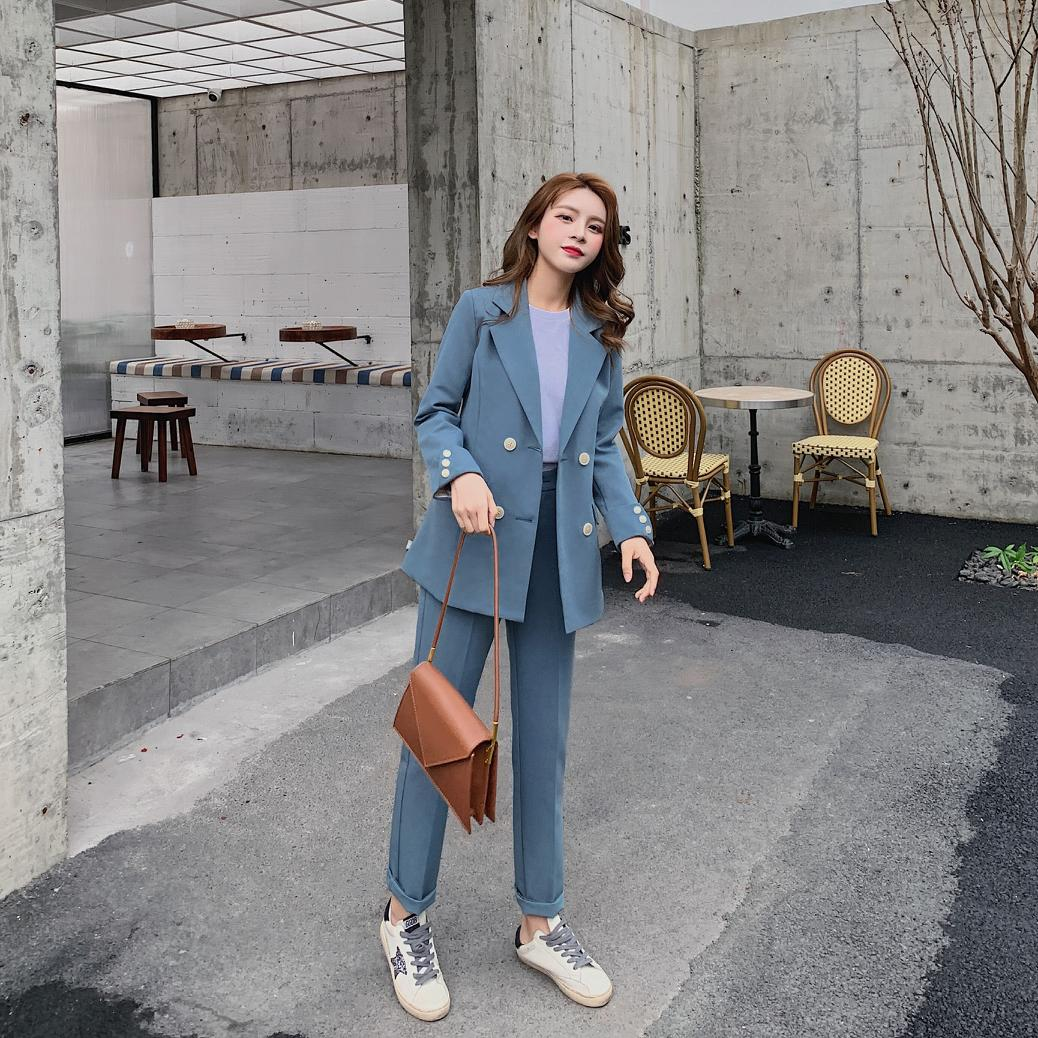 Casual Solid Women Pant Suits Notched Collar Blazer Jacket & Pencil Female  Spring Autumn High Quality
