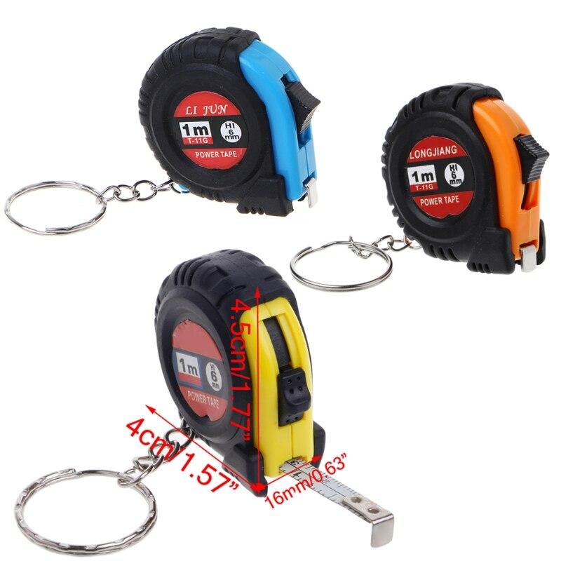 Retráctil regla, cinta métrica clave cadena Mini tamaño de bolsillo métrica 1m