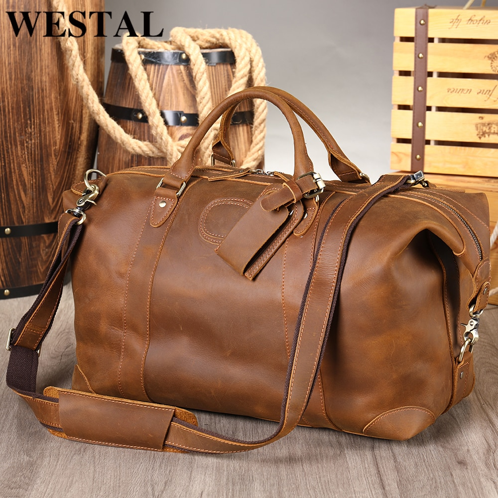 WESTAL Men's Travel Bag Personalised Handmade Duffle Bags Crazy Horse Leather Weekend/Overnight Bag Business Luggage Handbags
