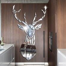 Miroirs décoratifs 3D, autocollants muraux en acrylique, grande taille, en forme de cerf, pour la chambre dun enfant, la salle de séjour ou la maison