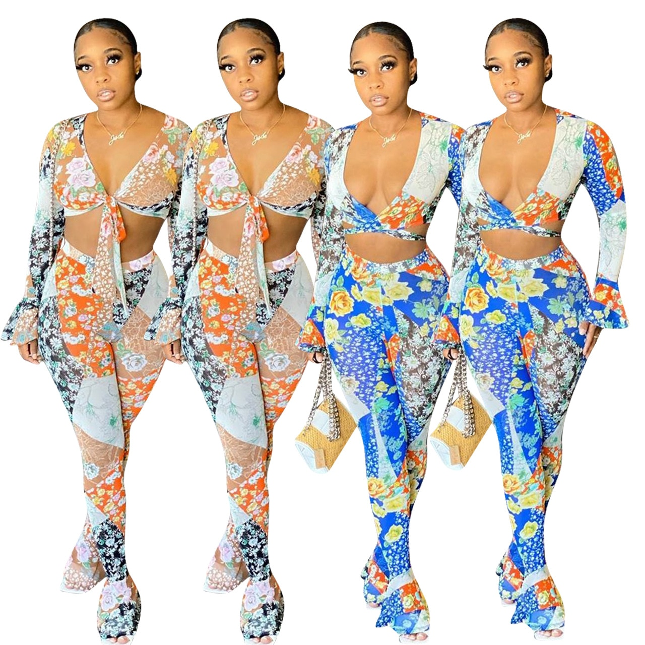 pink floral print scoop neck self tie design two piece outfit 2020 Summer Women Suit Hot Style Patchwork Floral Print Long Petal Sleeves V-neck Tie Shirt & Trousers Two Piece Set