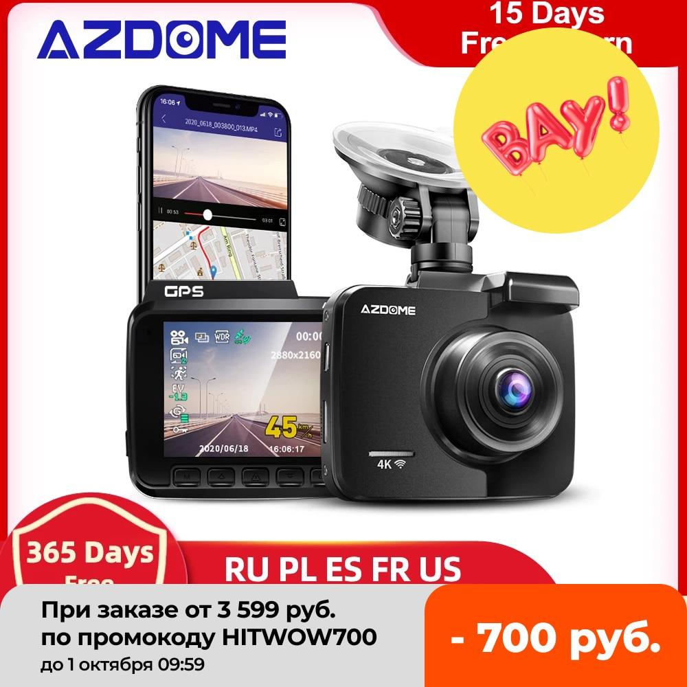 AZDOME-GS63H 대시 캠 듀얼 렌즈 4K UHD 녹화 자동차 카메라, DVR 나이트 비전, WDR 내장 GPS 와이파이 G-센서 모션 감지