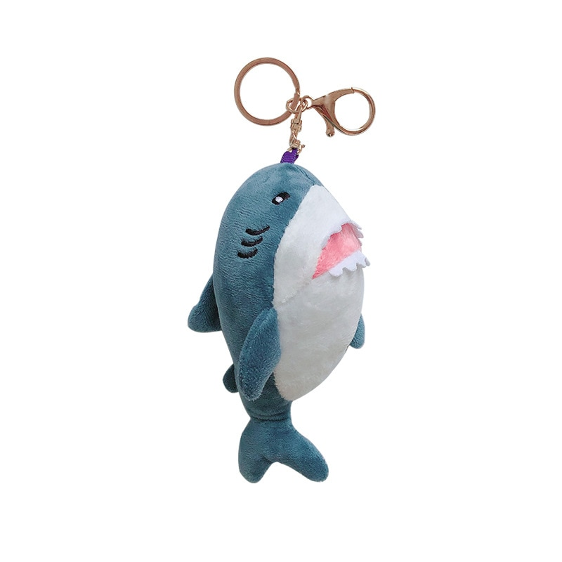 15cm juguete Mini peluche lindo tiburón de peluche llavero llaveros mujeres coche llavero pompón clave cadenas mujeres bolso clave colgante