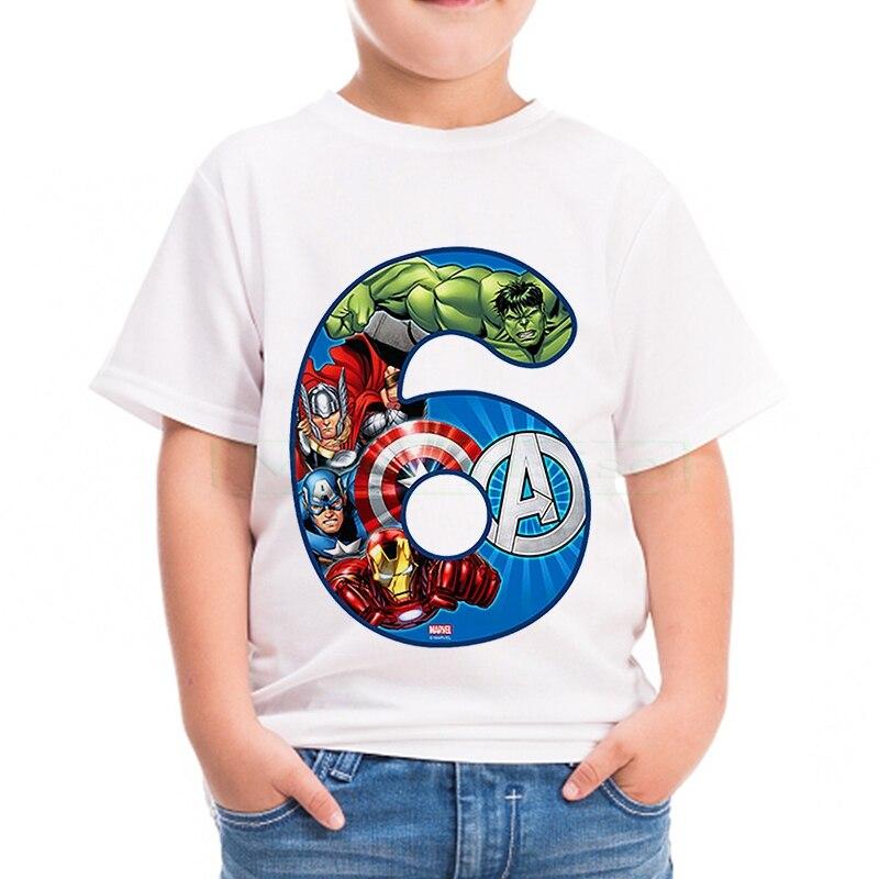 1 2 3 4 5 years Birthday Captain America Hulk Iron Boy's t shirt Cotton t-shirt Children's Clothing Child's Tee Clothes Costume