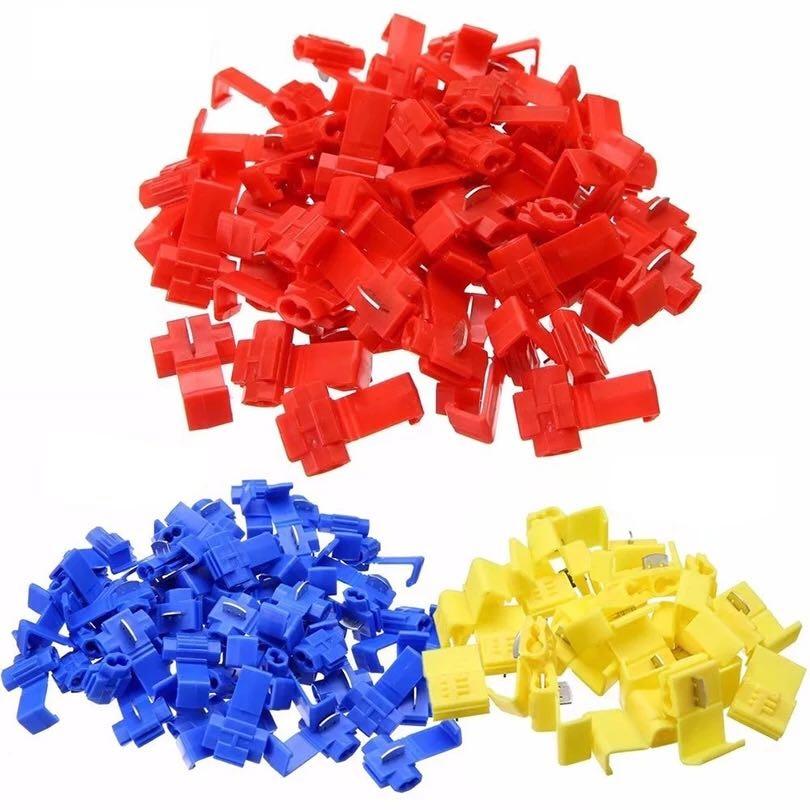 Realmente-100 Uds., color Azul, amarillo, suelto, terminales, cables elásticos