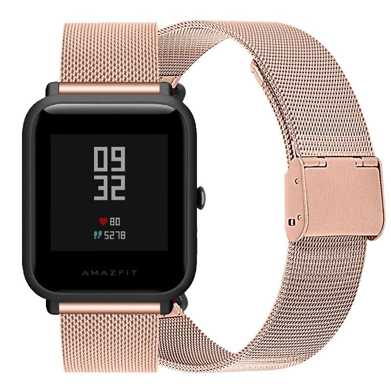 Correa de reloj Milanesa De Metal con botón a presión para Xiaomi Huami Amazfit Bip GTS GTR, correa de reloj de acero inoxidable de 42mm