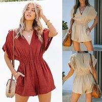 donsignet 2021 new summer fashion jumpsuit for women short sleeve solid color v neck jumpsuit women summer clothes