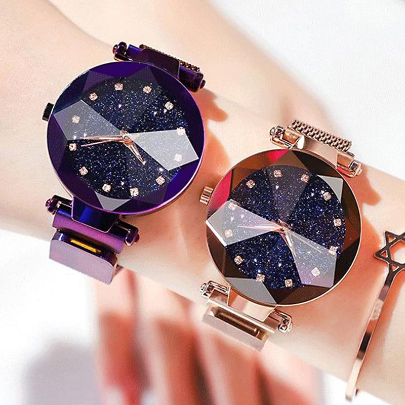 Ladies Magnetic Starry Sky Clock Luxury Women Watches Fashion Diamond Female Quartz Wristwatches Rel