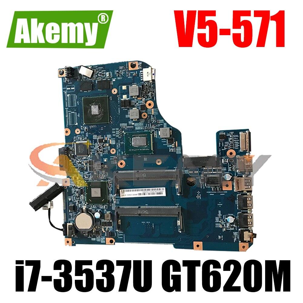 AKEMY LLaptop اللوحة الرئيسية NBM6V11006 48.4tuبألوان 0sb لشركة أيسر أسباير V5-571 اللوحة الأم إنتل i7-3537U DDR3 Nvidia GT620M