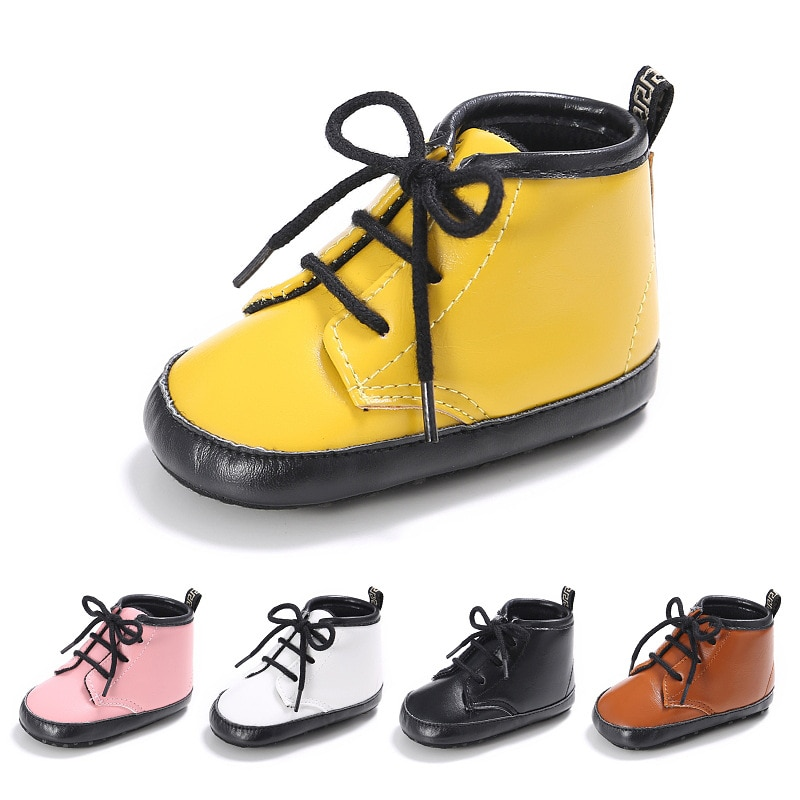 autumn 2018 boys girls lace up fashion sneakers baby toddler little big kid genuine leather trainers children school sport shoes Baby Shoes Girls Boys PU Leather Lace Up High Children Sneakers Girl Baby Shoes Sport Autumn Winter Shoes