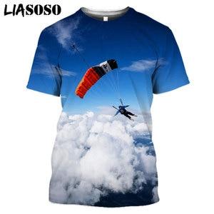 LIASOSO Unisex 3D Printing Skydiving  Parachute Men Women T-shirt  Harajuku Summer Sports Fitness Funny Tshirt New