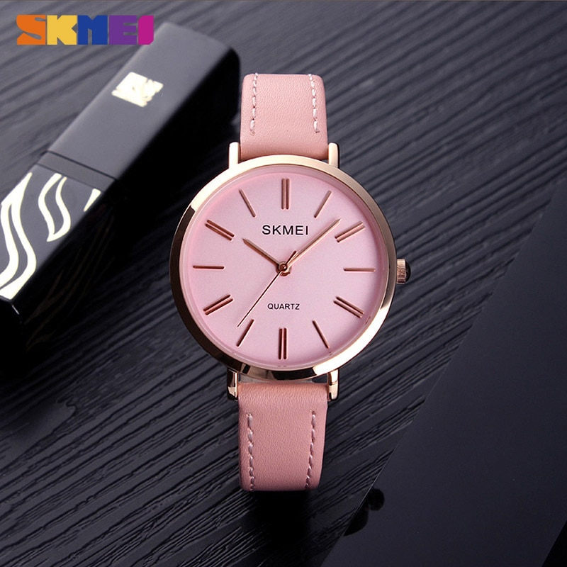 SKMEI Fashion Women Watches Casual Leather Strap Watch Simple 3bar Waterproof Quartz Wristwatches Ladies Relogio Feminino Gift enlarge