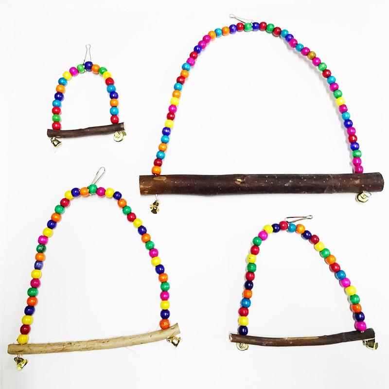 Flotadores de madera Natural columpios colgantes con cuentas coloridas juguetes suministros para pájaros