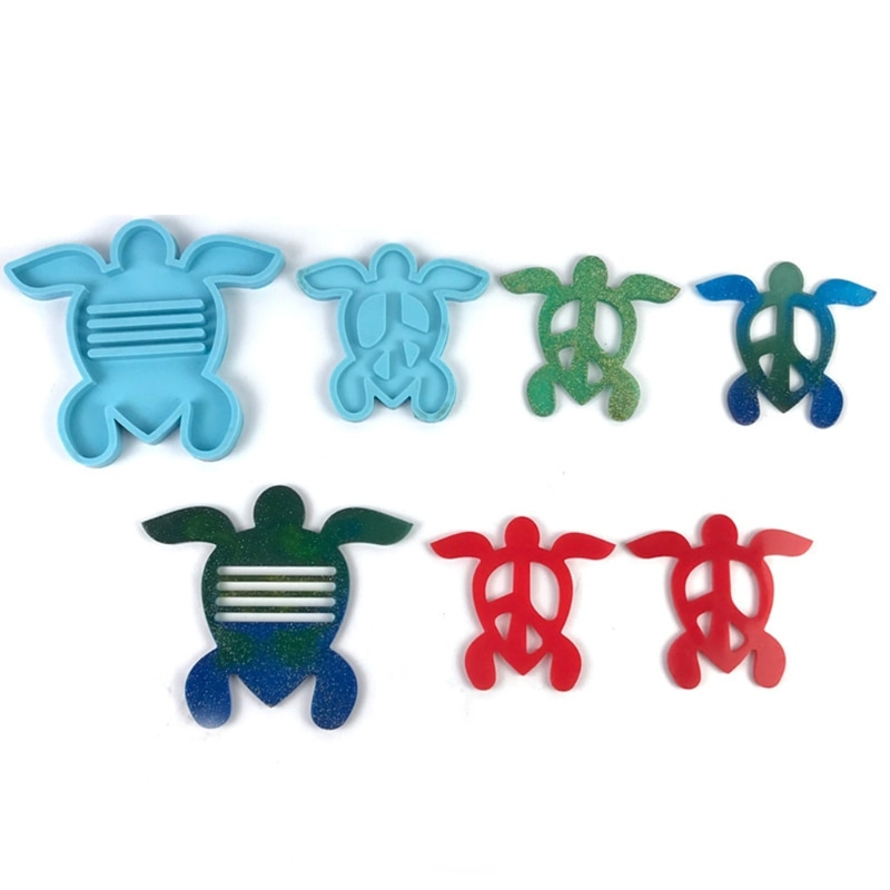 5 Pcs/Set Tortoise Coaster + Stand Epoxy Resin Mold Cup Mat + Holder Silicone Mould DIY Crafts Home Decoration Casting Tools