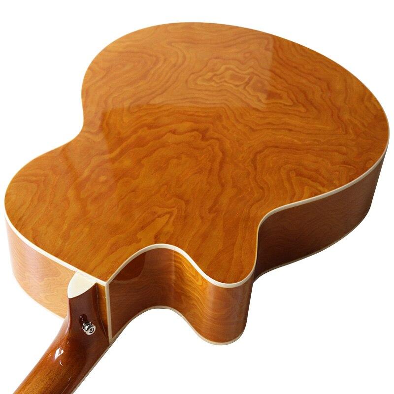Maple leaf fretboard 40 inch electric acoustic guitar cutaway design 6 string ashwood folk guitar with celluloid binding enlarge