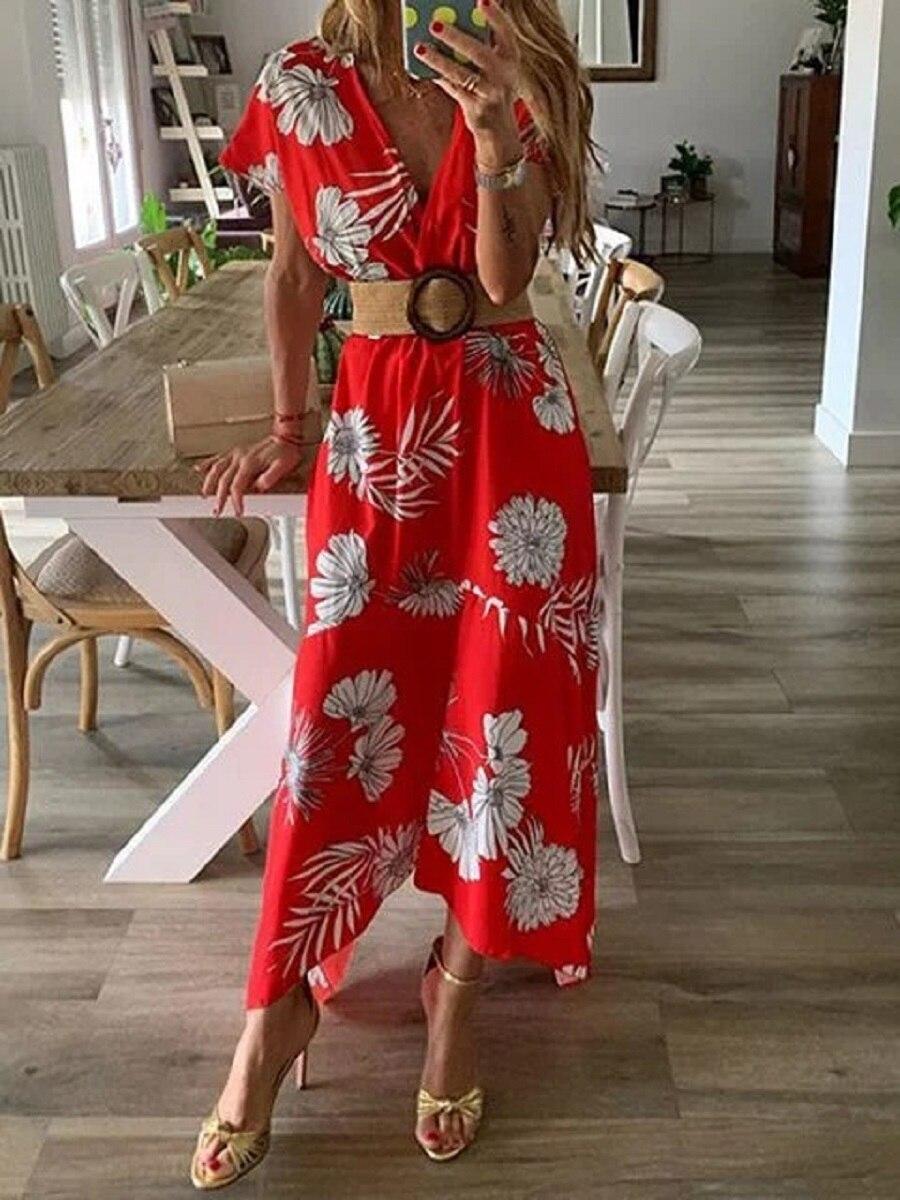 Wind spring summer print large women's dress long skirt