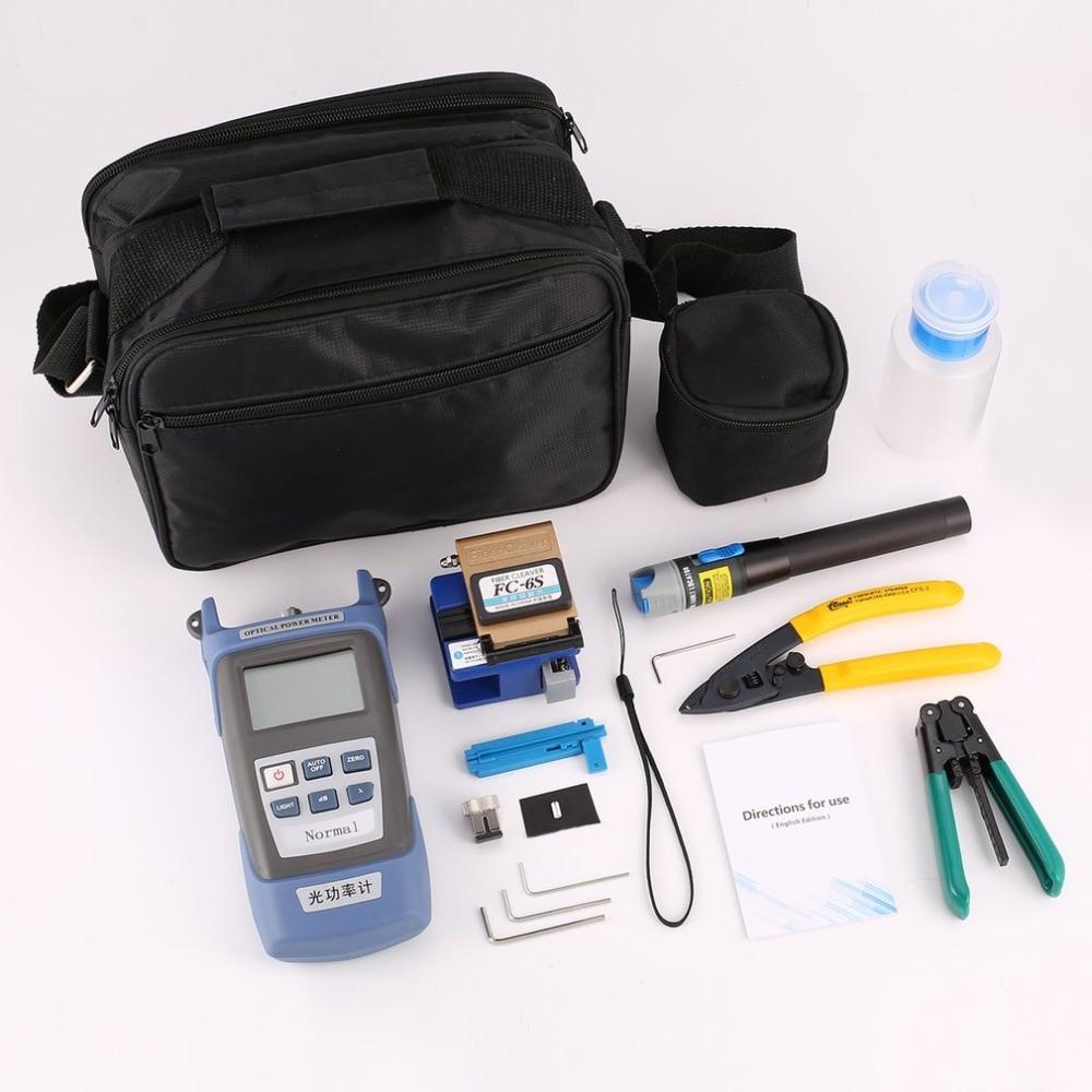 Kit de herramientas de fibra óptica FTTH Fiber Cleaver FC-6S medidor de potencia óptica Cable Stripper Visual fail Locator 5 mW