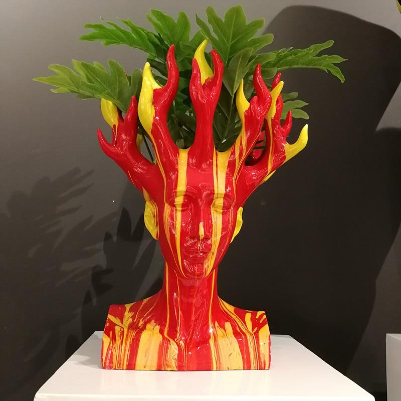 Jarrón de belleza moderno Diosa del Fuego retratos de la cabeza arreglo de flores de dibujo colorido escultura de resina pintada a mano X5744