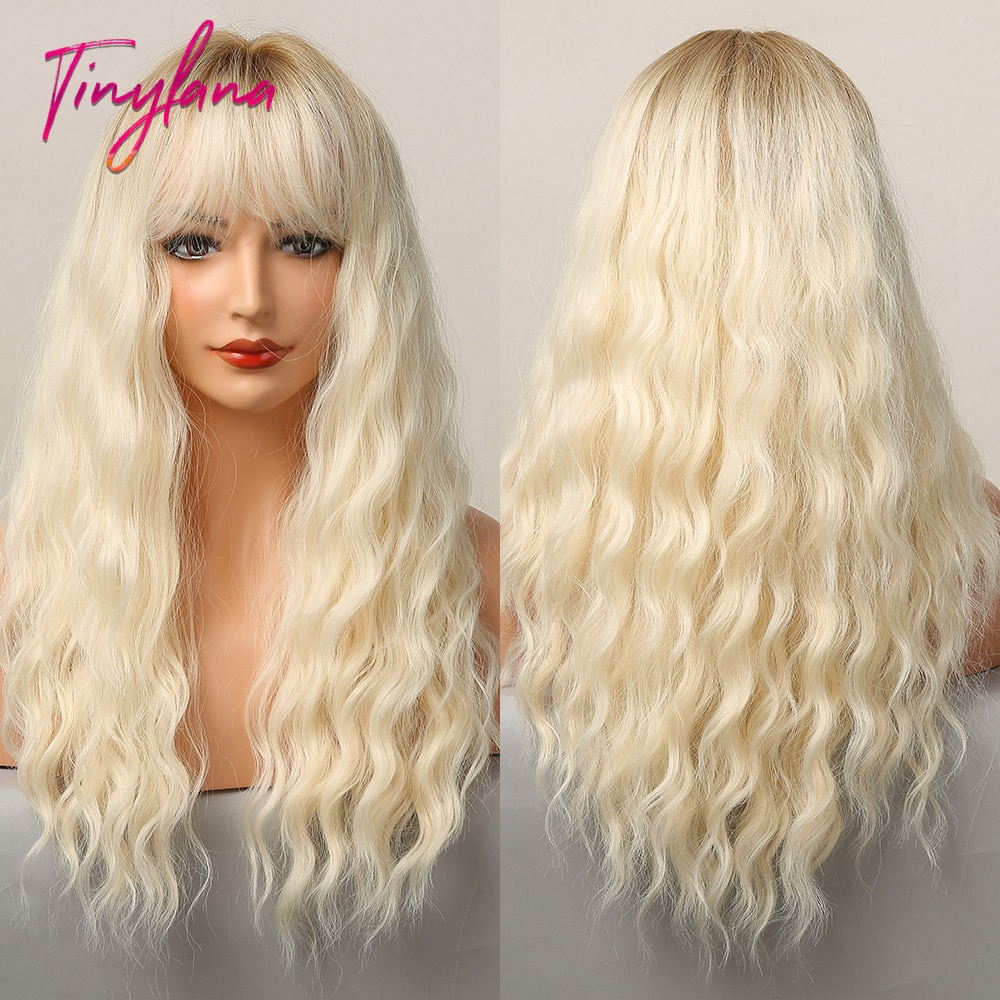 TINY LANA Ombre Brown Ligh Blonde Long Deep Wavy Wig with Side Bangs Synthetic Wigs For Women Cosplay Party Heat Resistant Fiber
