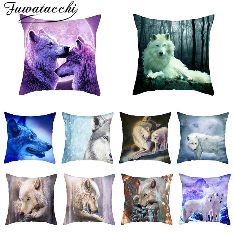 Fuwatacchi-funda de almohada con estampado de animales salvajes, nuevo estampado, para decoraciones...