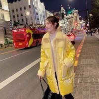 new yellow bright face down jacket womens winter mid long fashion over knee lamb plush
