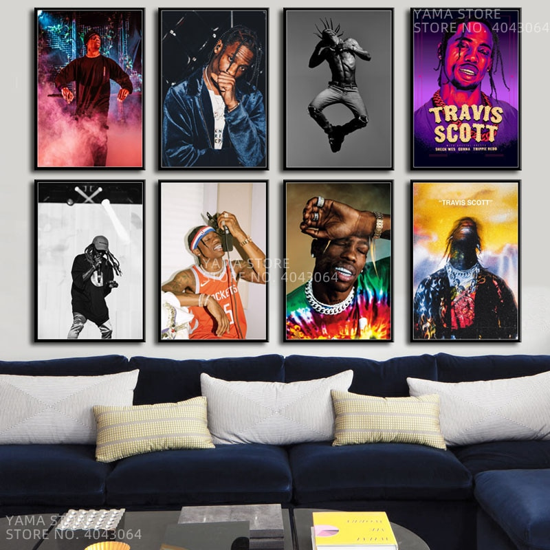J065 Travis Scott música estrella Rap Hip Hop rapero regalo Arte de la pared Decoración pintura póster impresiones lienzo