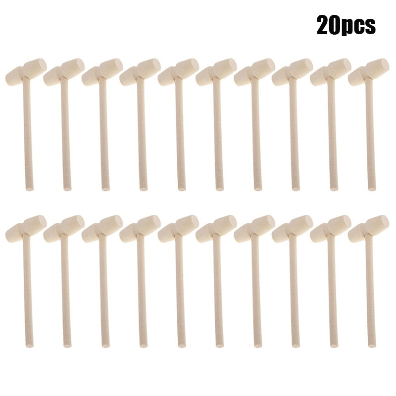 20pcs Mini Wooden Hammer Mallet Balls Toy Pounder Replacement Wood Mallets Crab Lobster Seafood Crac