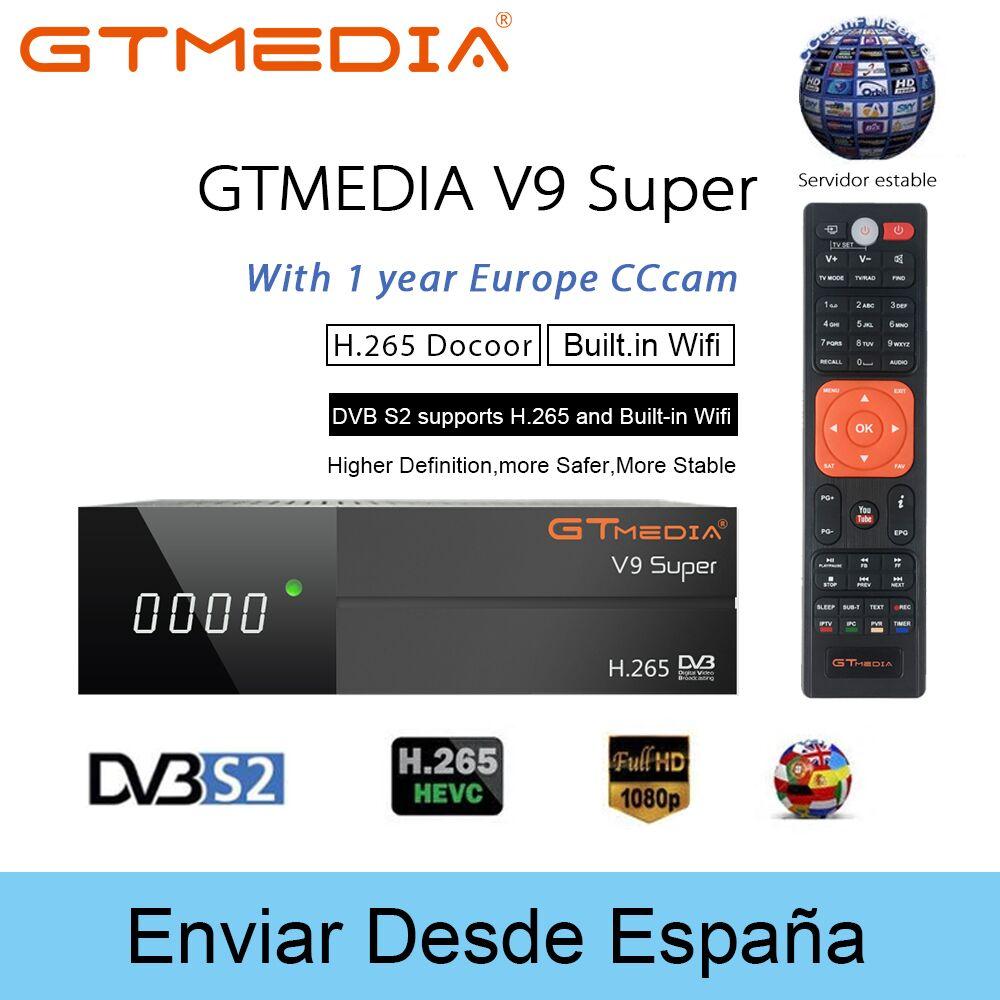 GTmedia V9 Super Satellite TV Receiver DVB-S/S2 HD+USB WIFI Antenna WiFi Dongle Satellite Receptor+1 year Europe cccam V8 Super