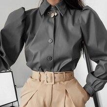 Długi rękaw bufka skręcić w dół kołnierz kobiety guzik do koszuli Faux skóra elegancka moda jesień zima Casual brązowy bluzka topy