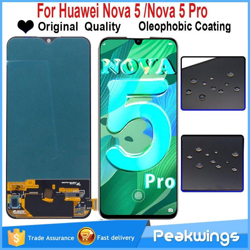6,39 pulgadas Original para Huawei Nova 5 Pro LCD pantalla táctil digitalizador pantalla para Huawei Nova 5 Pro Nova 5 LCD montaje de pantalla