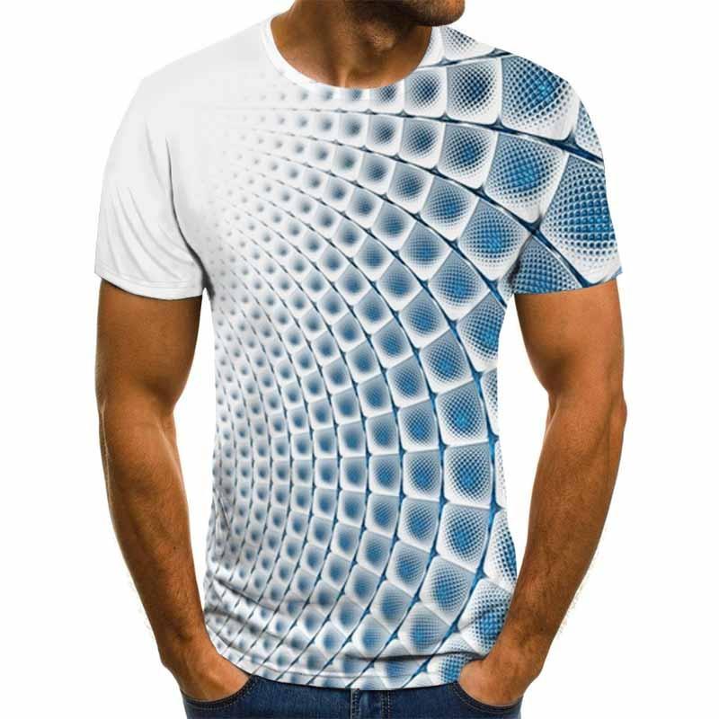 2020 new summer casual men's T-shirt 3D lattice Harajuku tops three-dimensional spiral T-shirt O-neck shirt plus size streetwear