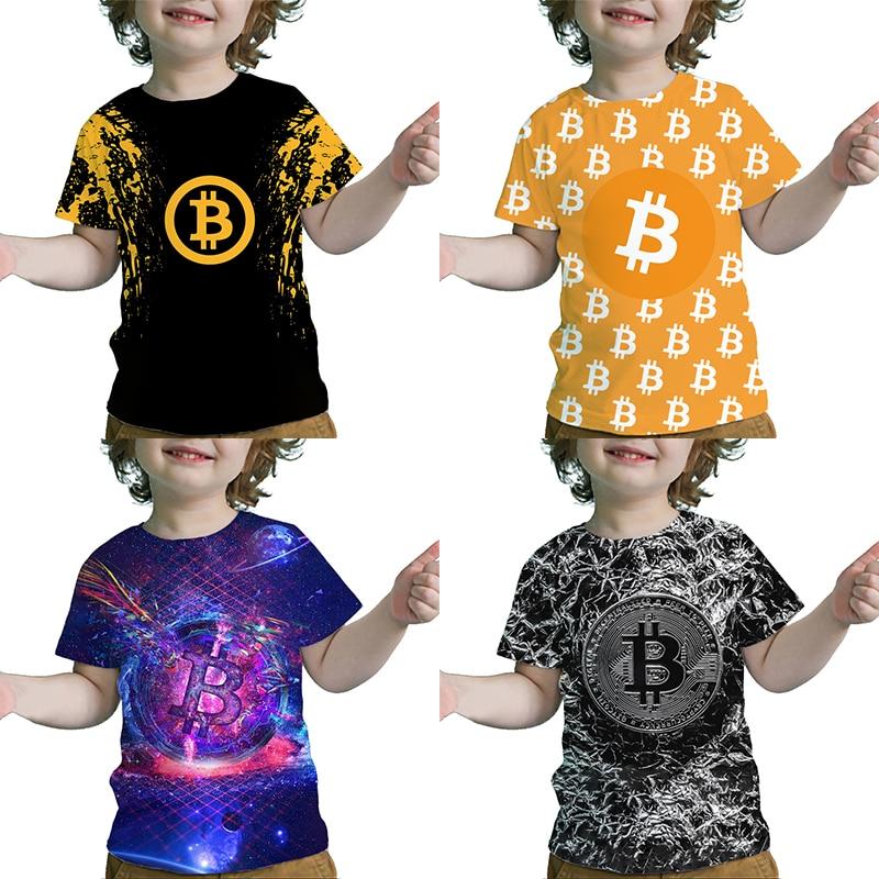 Детские футболки с 3D принтом биткоина, детские футболки с креативным рисунком, летние детские крутые футболки, топы для маленьких мальчиков...