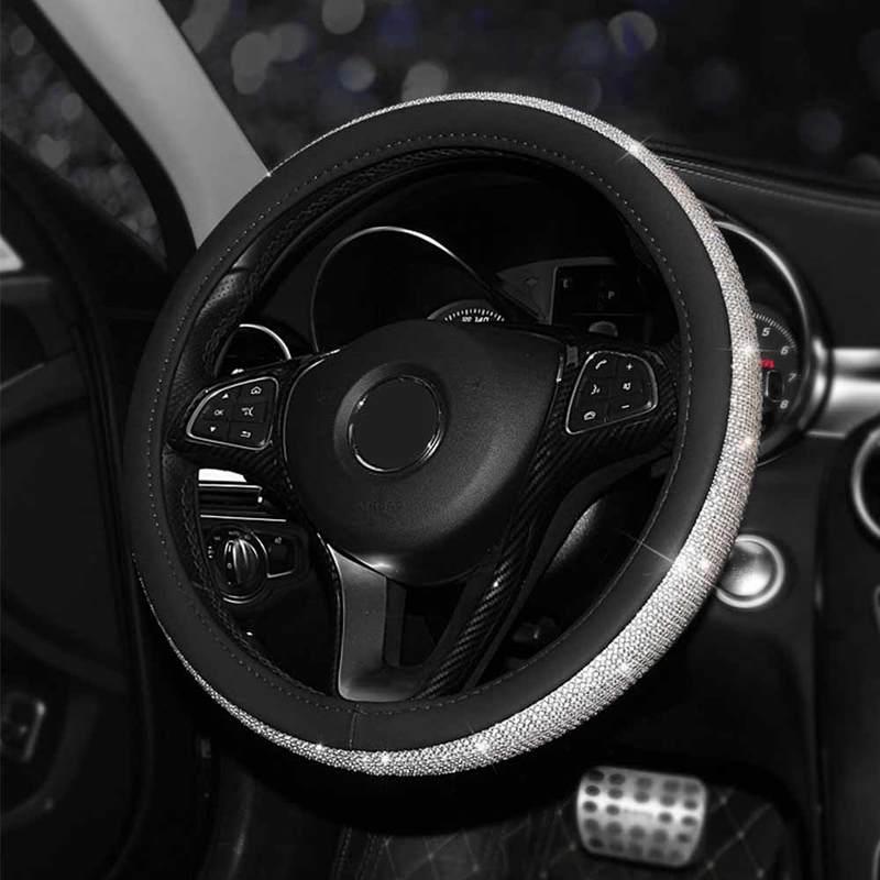 Cubierta de cuero para volante de coche con diamantes de imitación de cristal, cubierta brillante para volante, accesorios interiores de coche para mujer