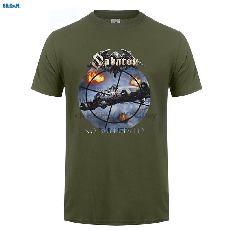 T Shirt Design Template  Crew Neck Men Short Gift Sabaton No Bullets Fly Heavy Metal Band Shirts