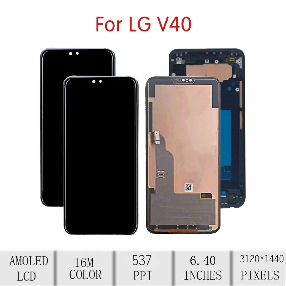 """6.4""""ORIGINAL For LG V40 LCD Touch Screen Digitizer Assembly For LG V40 ThinQ Display with Frame Replacement V405 V405UA V405TAB enlarge"""