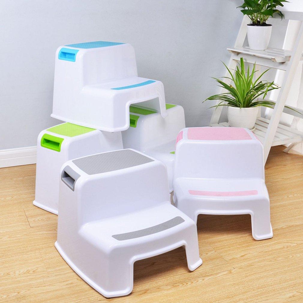 2 Steps Double Stool Plastic 280 lbs for Kids Anti-Slip Child Ladder Childrens Non-slip Feet Increase Bathroom Toilet Stool