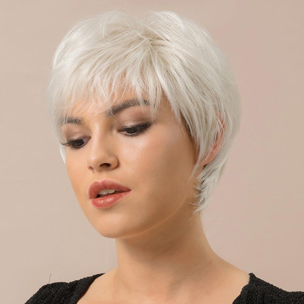 4X شعر الإنسان الفضة قصيرة شعر مستعار مستقيم مع دبوس الشعر مشط الصلب للنساء