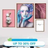 Affiches de peinture sur toile  mode fille Rose fleur palmier  tableau dart mural pour decoration de salon  decoration de maison