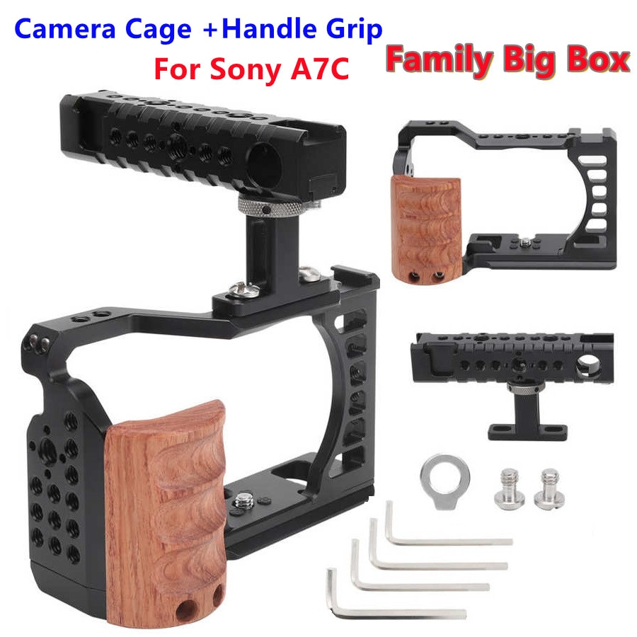 quick release DSLR camera cage Aluminum Alloy Cold Shoe Wooden side Handle Protective Cage Kit with Hand Grip for Sony A7C
