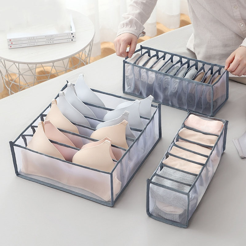 3 unids/set cajón caja de almacenamiento sujetador armario organizador calzoncillos Almacenamiento de calcetines rejilla caja de acabado plegable 24 rejilla divisor sujetadores calcetín