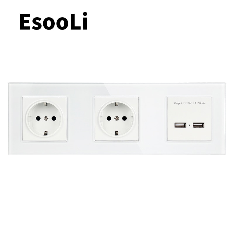 EsooLi الذهب الجدار الكريستال والزجاج لوحة مزدوجة المقبس 16A الاتحاد الأوروبي الكهربائية المخرج المزدوج USB الذكية شحن ميناء 5 فولت 2A الناتج