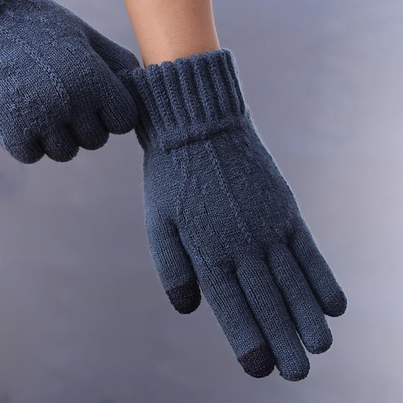 Перчатки зимние мужские, плотные и теплые шерстяные перчатки, стильные и Индивидуальные Дизайнерские мужские велосипедные перчатки с узор...
