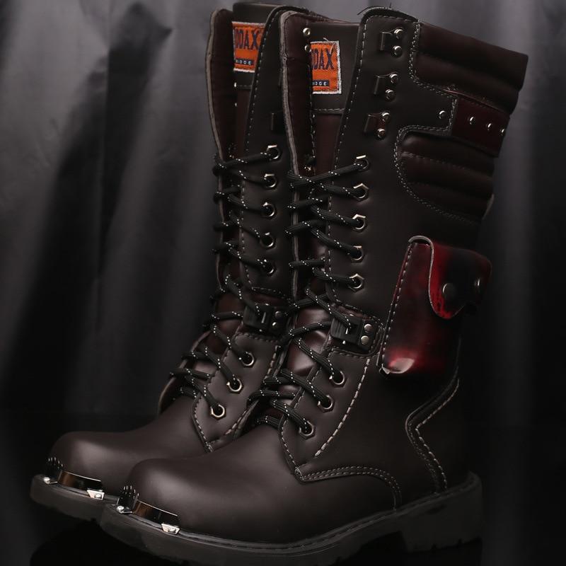 البريطانية شخصية فاسق الرجال عالية أعلى الأحذية الجلدية موضة كاوبوي الركبة التمهيد مشبك وسلاسل رجل دراجة نارية الأحذية 889
