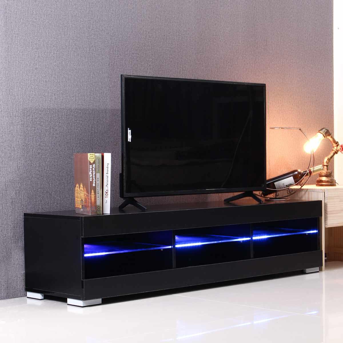 57 بوصة RGB LED وحدة تليفزيون خزانة تقف مع 6 أدراج مفتوحة التلفزيون قوس الجدول غرفة المعيشة المنزلي الأثاث التلفزيون تقف عالي اللمعة