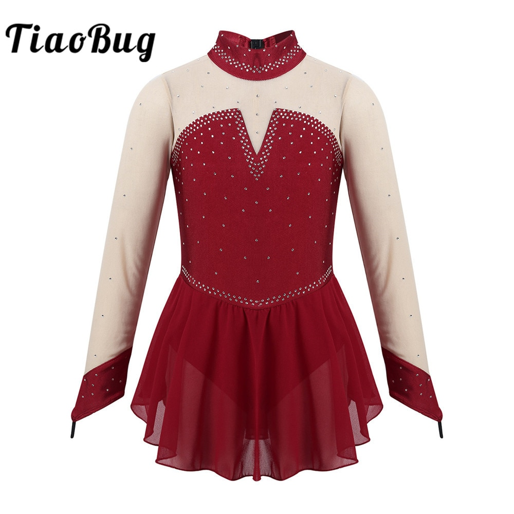 TiaoBug Kids Sparkly Rhinestones Long Sleeves Figure Skating Dress Girls Ballet Gymnastics Leotard S