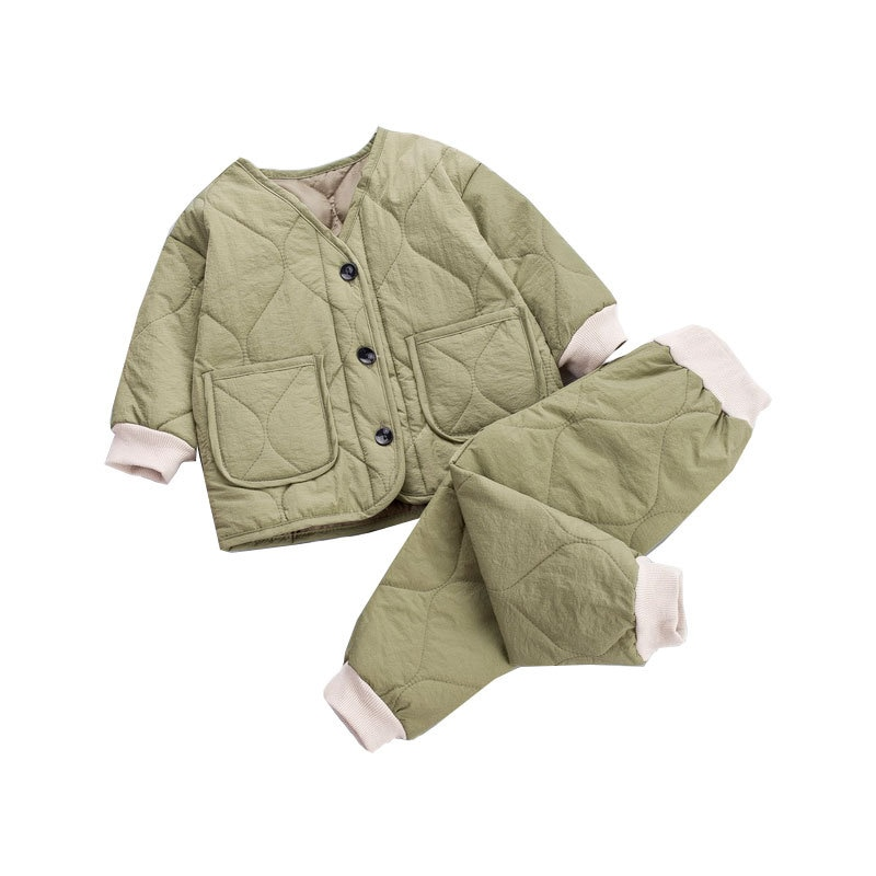 winter clothing children s clothing boys and girls 2 pieces set children s suits keep warm jackets and pants kids clothes New Winter Children Fashion Keep Warm Clothes Kids Boys Girls Thicken Cotton Jacket Pants 2Pcs/sets Baby Infant Casual Clothing