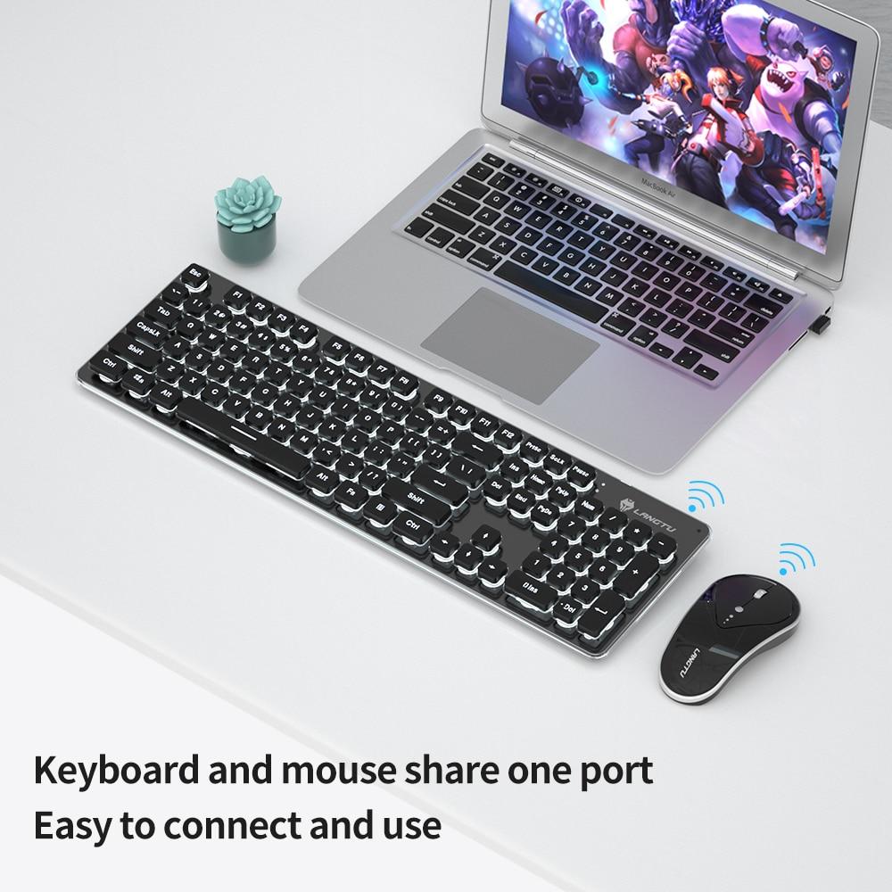 2.4GHz LT600 الألعاب لوحة مفاتيح وماوس كومبو قابلة للشحن اللاسلكية 104key الأبيض الخلفية مريح Waterprof 1600 ديسيبل متوحد الخواص الفئران الصامتة